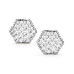 JENNIFER YAMINA: Hexagon Pave Diamond Studs in White Gold