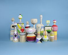 kokeshi figures. Reminiscent of Alexander Girard's toys for Vitra.