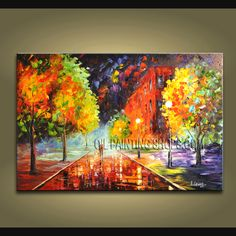 Amazing Palette Knife wall art Landscape oil painting on canvas. This painting has been stretched on wooden bar and custom framed by a specialist r Modern Oil Painting, Modern Art Paintings, Oil Painting On Canvas, Landscape Paintings, Abstract Paintings, Modern Canvas Art, Contemporary Wall Art, Canvas Wall Art, Palette Knife