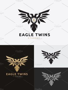 Eagle Twins Logo by Super Pig Shop on @creativemarket