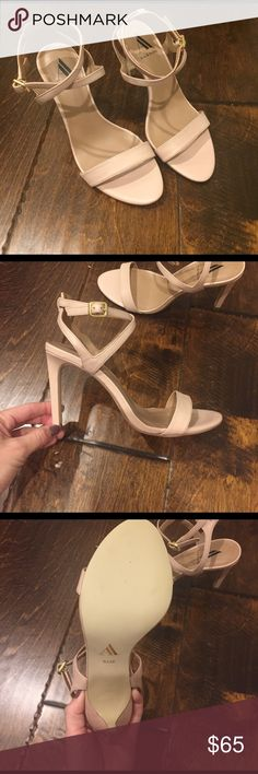 Brand New Ava & Aiden heeled sandals! Brand New! Bought them to wear to a wedding and did not end up wearing them. I do not have the box or tags, but as you can see from the bottom of them they have never been worn! They are a pale pink/nude color with 4in heel. Size 6 1/2. Super cute! Offers welcome! Ava & Aiden Shoes Heels