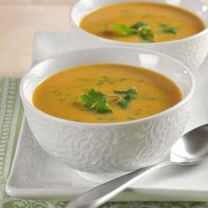 Thai-Style Pumpkin Soup | Meals.com -  Fresh ginger and creamy peanut butter lend a distinct Thai flavor to this pumpkin soup. Ready in less than 30 minutes and great to freeze, it's easy to get this delicious dinner on the table! #pumpkin #makeahead