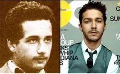 Doppelgänger: Famosos e pessoas do passado -  Albert Einstein e Shia Labeaof