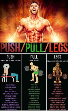 One great thing about the push, pull, legs program is the emphasis on training specific muscle groups. Push days consist of training the pushing muscl. Fitness Hacks, Fitness Workouts, Exercise Fitness, Weight Training Workouts, Gym Workout Tips, Workout Schedule, Workout Routines, Beast Workout, Men Exercise