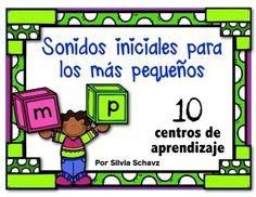 Sonidos iniciales para los más pequeños contiene 10 centros de aprendizaje de la lectura diferenciados para estudiantes que están aprendiendo a identificar sonidos en español.