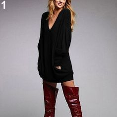 New Hot Beautiful Sexy Women Fashion V-neck Casual Long Sleeve Pocket Loose T-shirt Tops Mini Dress smt102