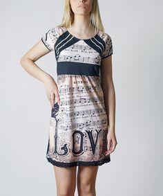 Look what I found on #zulily! Black Music Note 'Love' Empire-Waist Dress #zulilyfinds