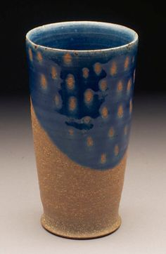 robin edgerton pottery tumbler, after sottsass, 2012. stoneware with lapis blue glaze. @ house du chien.