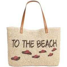 Style & Co. To The Beach Straw Tote, ($25) ❤ liked on Polyvore featuring bags, handbags, tote bags, to the beach, pocket tote, straw handbags, straw purse, white handbags and pocket tote bag