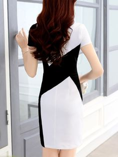 Asymmetric Neck Fashion Color Block Bodycon Dress - berrylook.com