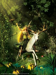 """The White Deer"" by Vladimir Nazor Cg Artwork, Fantasy Artwork, Once Upon A Time, Ethereal, Deer, Fairy, Photoshop, Princess Zelda, Christmas Ornaments"