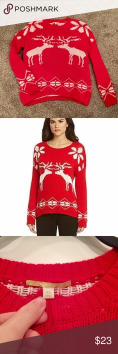 Gianni Bini Red/White Reindeer Christmas Sweater This is the perfect Christmas sweater! I purchased it from Dillard's a few seasons ago and it's been worn maybe three times at most. Unfortunately it's a little small on me, which is why I'm selling it. Mild pilling but in otherwise excellent condition. Offers welcome! Hoping to sell quick so it can get to you by Xmas! Gianni Bini Sweaters