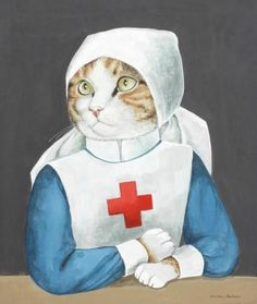 Retro vintage cat girl nurse doctor red cross medic cushion cover throw pillow case Cute kitty nurse uniform image is the same on both sides Decorative throw pillow case measures Costume Chat, Animal Gato, Image Chat, Vintage Cat, Retro Vintage, Cat Life, Crazy Cats, Cat Art, Pet Portraits