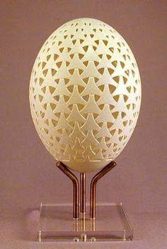 Carved egg shell