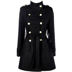 Boohoo Jade Military Wool Look Coat (4.940 RUB) ❤ liked on Polyvore featuring outerwear, coats, rain coat, duster coat, wool wrap coat, puffer coat and woolen coat