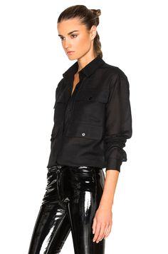 Image 2 of Anthony Vaccarello 4 Pocket Long Sleeve Shirt in Black