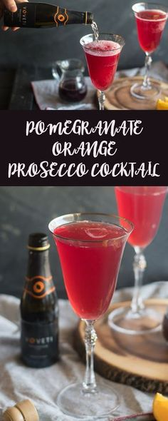 This Pomegranate Orange Prosecco Cocktail is an easy cocktail that's perfect for a date night at home. #drink #cocktail