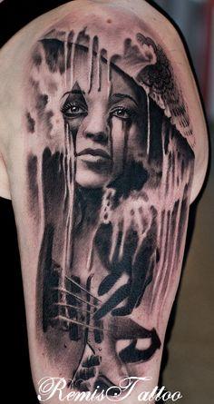 Beautiful Woman, bass guitar, tattoo, black and grey tattoo by Remis remistattoo realistic tattoo ink ideas designs