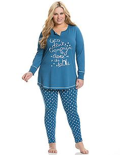 Sleep or lounge in our soft knit PJ set featuring a festive foiled champagne graphic and bubble-print legging for easy-wearing comfort. Coordinating solid top features long sleeves and a flattering notched neckline with contrast-colored stitching. lanebryant.com