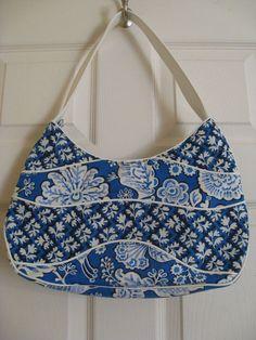 Vera Bradley Blue Lagoon Making Waves Hobo Purse Bag Excellent Flowers #VeraBradley #Hobo