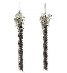 Kate Wood Jewellery Pearl and Oxidised Silver Cluster Hoop Earrings IwP6e5Pe