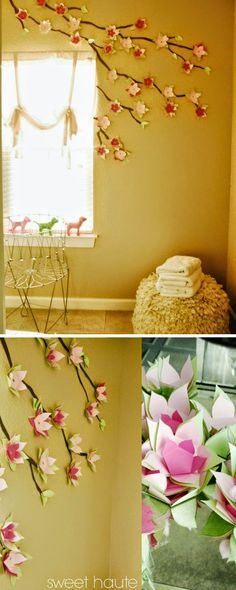 DIY Large Paper Flowers (Wall Decor and Above Bed) | Large paper ...