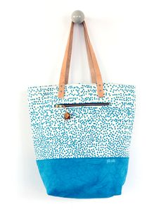 screen printed tote bag, leather handle, special zipper, canvas bottom