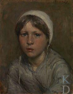 Bernardus Johannes Blommers Portret van een Schevenings meisje, ca. 1886 Den Haag, De Mesdag Collectie, inv./cat.nr. nr. 31 #ZuidHolland #Scheveningen