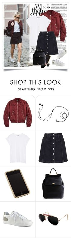 """Wardrobe Staple: White T-Shirt"" by yexyka ❤ liked on Polyvore featuring Topshop, Marshall, Balmain, Swarovski, Dolce&Gabbana, ED Ellen DeGeneres, Ray-Ban and WardrobeStaples"