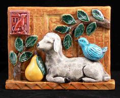 Ceramic Tile Sheep with Pear and Bird by tilebyfire on Etsy
