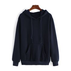 Blue Hooded Long Sleeve Pockets Casual Sweatshirt ($19) ❤ liked on Polyvore featuring tops, hoodies and sweatshirts