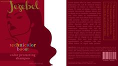 Label: cooler reds, split for front and back, color protecting shampoo