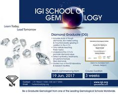 Be a #DiamondGraduate at Hyderabad with #IGISchoolofGemology. Course starts from 19th June, 2017. Call +9198664 11008 / 040 6617 2550. #IGI