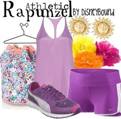 Disneybound Rapunzel Athletic outfit minus the bag and flowers and earrings.