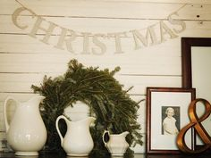Glittery Christmas Banner With Wreath
