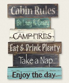 Another great find on #zulily! 'Cabin Rules' Wood Wall Sign #zulilyfinds