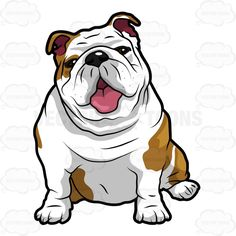Vector cartoon Wrinkly English Bulldog Sitting With Its Mouth Open for e-learning, videos, web and print designs.