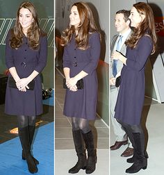 Kate Middleton revealed her tiny baby bump in a purple Goat dress at a SportsAid workshop in London.