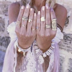 Harmony of fabric and hue boho's big rings