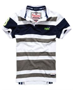 Mens - Summer Blues Polo Shirt in Optic White Mix | Superdry