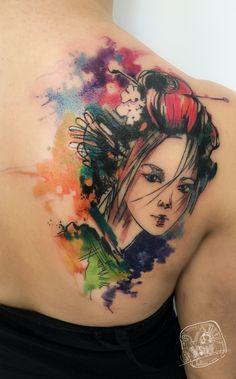 Geisha Watercolor tattoo