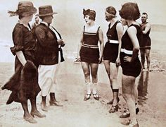 Inspecting swimsuit lengths in the 1920's