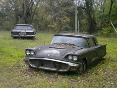 Derelict Thunderbirds awaiting a saviour Ford Lincoln Mercury, Rusty Cars, Old Tractors, Abandoned Cars, Ford Thunderbird, Unique Cars, S Car, Car Ford, Barn Finds