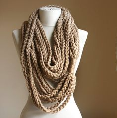 Beige crochet scarf Infinity chain scarf Oatmeal autumn fall fashion winter accessories