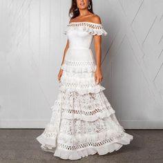 Everkaki Boho White Maxi Dresses Women Wedding Off Shoulder Ruffles Elegant Ladies Night Gown Long Dress Female 2019 New - white,xxl White Maxi Dresses, Elegant Dresses, Nice Dresses, Dresses With Sleeves, Sleeve Dresses, Long Dresses, Ruffle Dress, Boho Dress, Ruffles