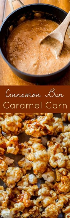A recipe from Sally's Candy Addiction cookbook: crunchy caramel corn inspired by sticky and sweet cinnamon buns. The true definition of addicting! - I forgot I was going to make Caramel corn. Candy Recipes, Snack Recipes, Dessert Recipes, Cooking Recipes, Sweet Recipes, Delicious Desserts, Yummy Food, Flavored Popcorn, Homemade Popcorn