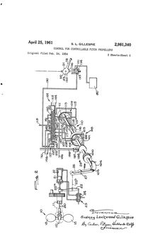 Patent US2981340 - Control for controllable pitch propellers - Google Patents