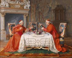 Paul Schaan Paul Schaan (1857-1924) —Two cardinals at the banquet (1600x1274)