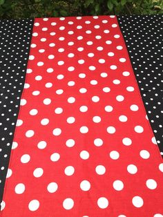 "Mickey Mouse 12"" X 44"" Red with White Polka Dot Table Runner Only on Etsy, $9.99"