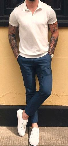 HOT Minimalist Street Style! White Polo Shirt, White Sneakers and Slim Fit Chinos. Clean and Smart. Follow rickysturn/mens-casual